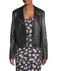 Michael Kors - Ruffle Sleeve Leather Moto Jacket - Lyst