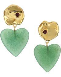 Lizzie Fortunato - Venice 18k Goldplated Green Quartz & Garnet Drop Earrings - Lyst