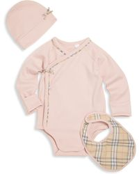 Burberry - Baby's Three-piece Bodysuit, Bib & Hat Set - Lyst