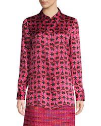ESCADA - Heart Print Silk Blouse - Lyst