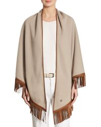Loro Piana - Fringed Leather & Cashmere Poncho - Lyst