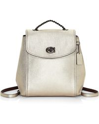 COACH - Parka Metallic Canvas & Leather Backpack - Lyst