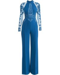 Zuhair Murad Kabuki Embellished Sheer Long-sleeve Jumpsuit - Blue