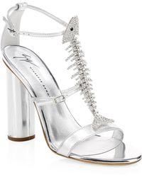 Giuseppe Zanotti - Embellished Metallic Leather Sandals - Lyst