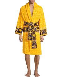 Versace - Logo Toweling Baroque Bathrobe - Lyst