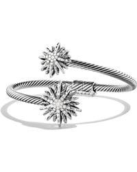 David Yurman - Diamond Sterling Silver Starburst Bypass Cuff Bracelet - Lyst