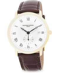 Frederique Constant - Slimline Stainless Steel & Croc-embossed Leather Strap Watch - Lyst