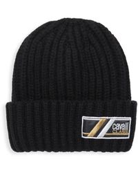 Roberto Cavalli - Wool Ribbed Knit Hat - Lyst