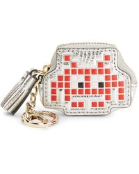 Anya Hindmarch Space Invader Leather Coin Purse - Red