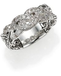 John Hardy - Classic Chain Diamond & Sterling Silver Braided Ring - Lyst