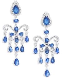 Effy - Final Call Diamond, Natural Sapphire And 14k White Gold Drop Earrings - Lyst