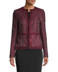 Donna Karan - Fringed Tweed Jacket - Lyst