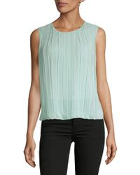 a016d4f41c21d1 Lyst - Calvin Klein Pleated Shoulder Sleeveless V-neck Shell in Blue