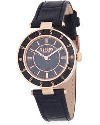 Versus - ??ogo Stainless Steel And Leather-strap Watch - Lyst
