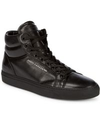 John Galliano - High Top Leather Trainers - Lyst
