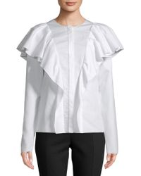 Lanvin - Haut Ruffled Cotton Top - Lyst