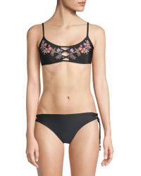 Ella Moss - Floral Lace-up Bikini Top - Lyst