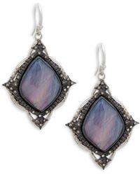 Armenta - Champagne Diamond & Rainbow Moonstone Kite Cross Earrings - Lyst