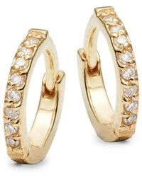 Danni - Diamond And 14k Yellow Gold Huggie Earrings - Lyst