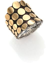 John Hardy - Dot 18k Yellow Gold & Sterling Silver Saddle Ring - Lyst