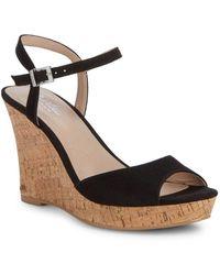 Charles David - Lambert Microsuede Cork Wedge Sandals - Lyst