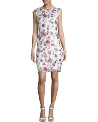 Donna Ricco - Floral Embroidered Dress - Lyst