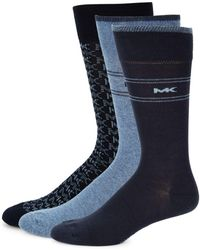 Michael Kors - Three-piece Logo Printed Sock Set - Lyst