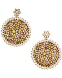 Plevé - Diamond & 18k Yellow Gold Sunflower Earrings - Lyst