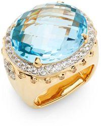 John Hardy - Bamboo Blue Topaz, White Sapphire & 18k Yellow Gold Ring - Lyst