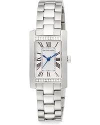 Saks Fifth Avenue - Stainless Steel Pavé Crystal Bezel Rectangular Watch - Lyst