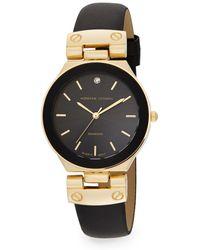 Adrienne Vittadini - Diamond Goldtone & Faux Leather Strap Watch/27mm - Lyst