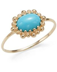 Anzie - Dew Drop Turquoise & 14k Yellow Gold Ring - Lyst