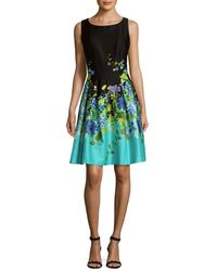 Chetta B - Blocked Floral A-line Dress - Lyst