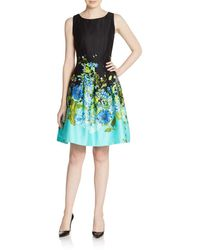 Chetta B - Blocked Floral A-line Dress - Lyst