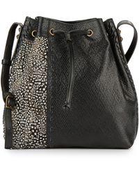 DANNIJO - Thalia Leather & Feather Bucket Bag - Lyst