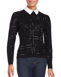 Carmen Marc Valvo   Long Sleeve Crewneck Sweater   Lyst