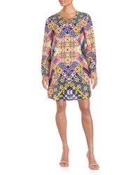 Eci - Printed Shift Dress - Lyst