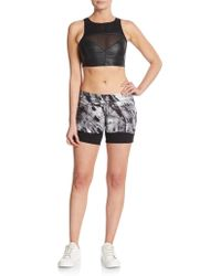 Blanc and Noir - Leather Paneled Sports Bra - Lyst