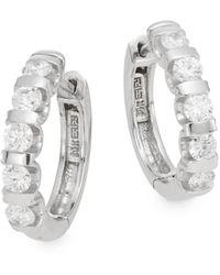 """Effy - Diamond & 14k White Gold Hoop Earrings/0.75"""" - Lyst"""