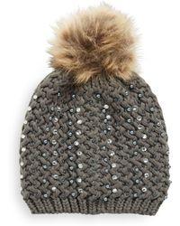 Cara - Studded Faux Fur Knit Beanie - Lyst