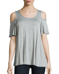 Bobeau - Heathered Cold Shoulder Top - Lyst