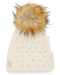 Betsey Johnson - Faux Fur Pompom Beanie - Lyst