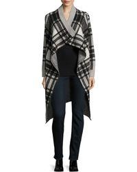Cliche - Ruffled Long Sleeve Plaid Jacket - Lyst