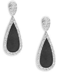 Effy - Diamond & 18k White Gold Earrings - Lyst