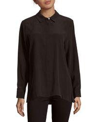 Leo & Sage - Long-sleeve Pleat-back Silk Blouse - Lyst