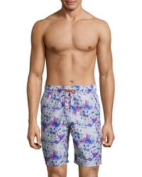 Bugatchi - Printed Drawstring Swim Shorts - Lyst
