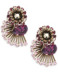 Tataborello - Beaded Crystal Clip On Earrings - Lyst
