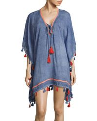 Saks Fifth Avenue - Tassel Lace-up Cotton Caftan - Lyst