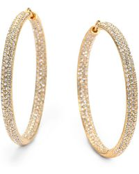 "Adriana Orsini - Pavà Crystal & 18k Goldplated Inside-outside Large Hoop Earrings/1.75"" - Lyst"