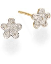 Kacey K - Diamond & 14k Gold Flower Earrings - Lyst